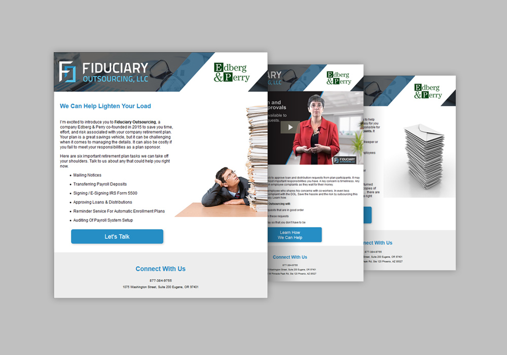 Screen captures of three custom email campaign designs