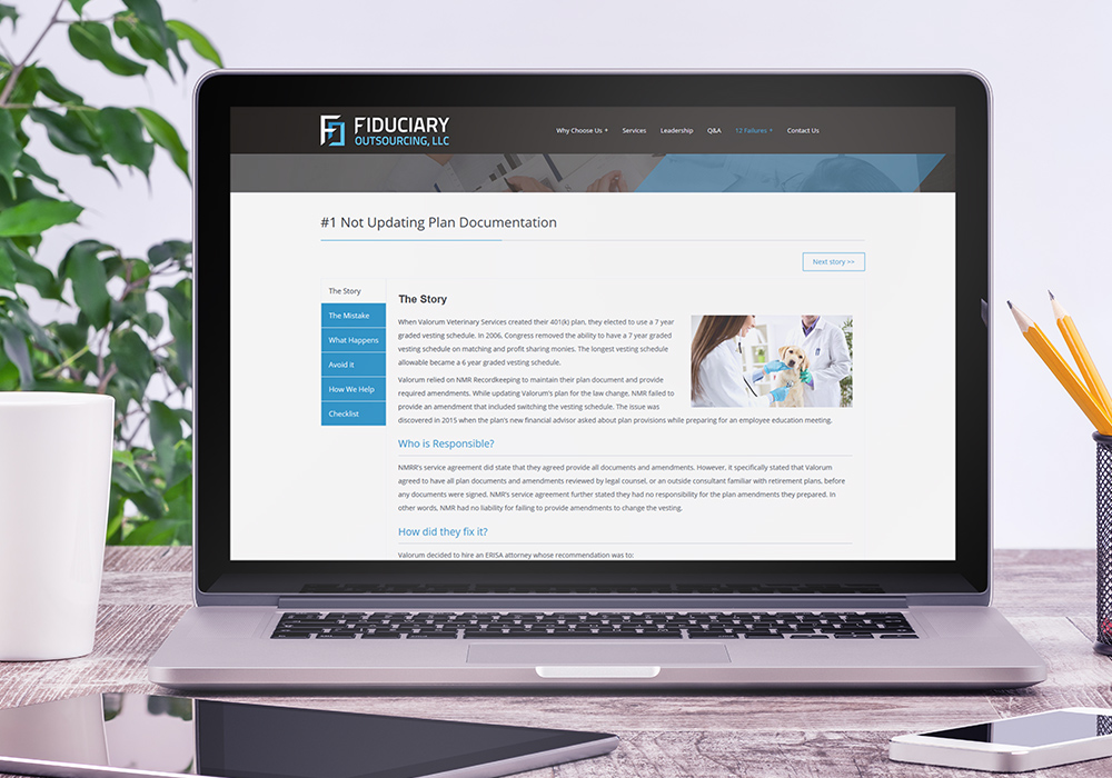 Fiduciary Outsourcing website displayed on a laptop
