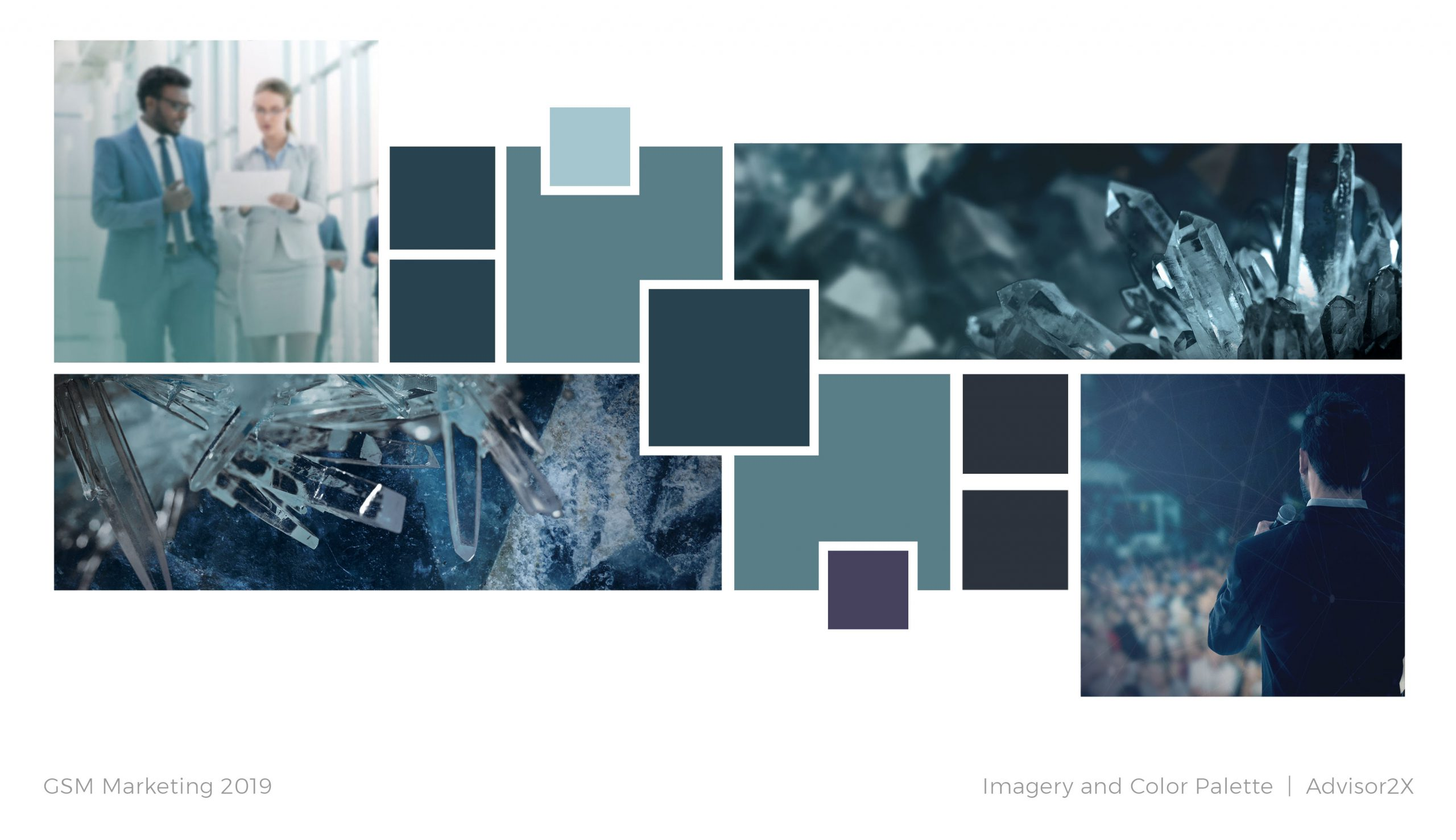 Advisor2X brand imagery and color palette plan
