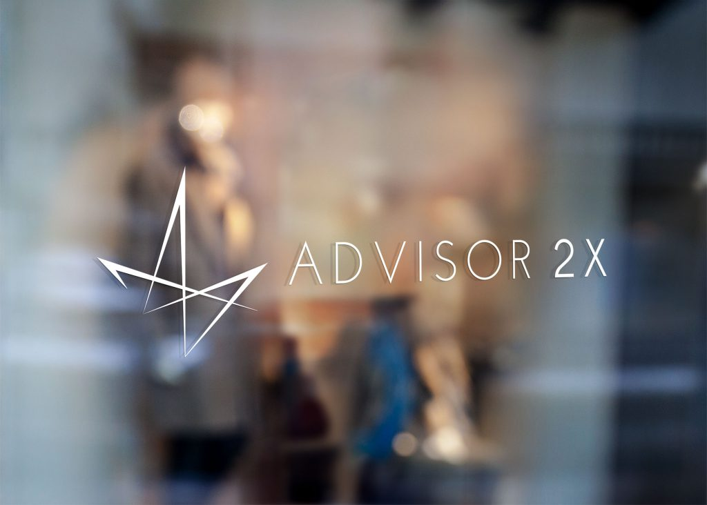 Advisor2X logo decal, all white, on a glass office door