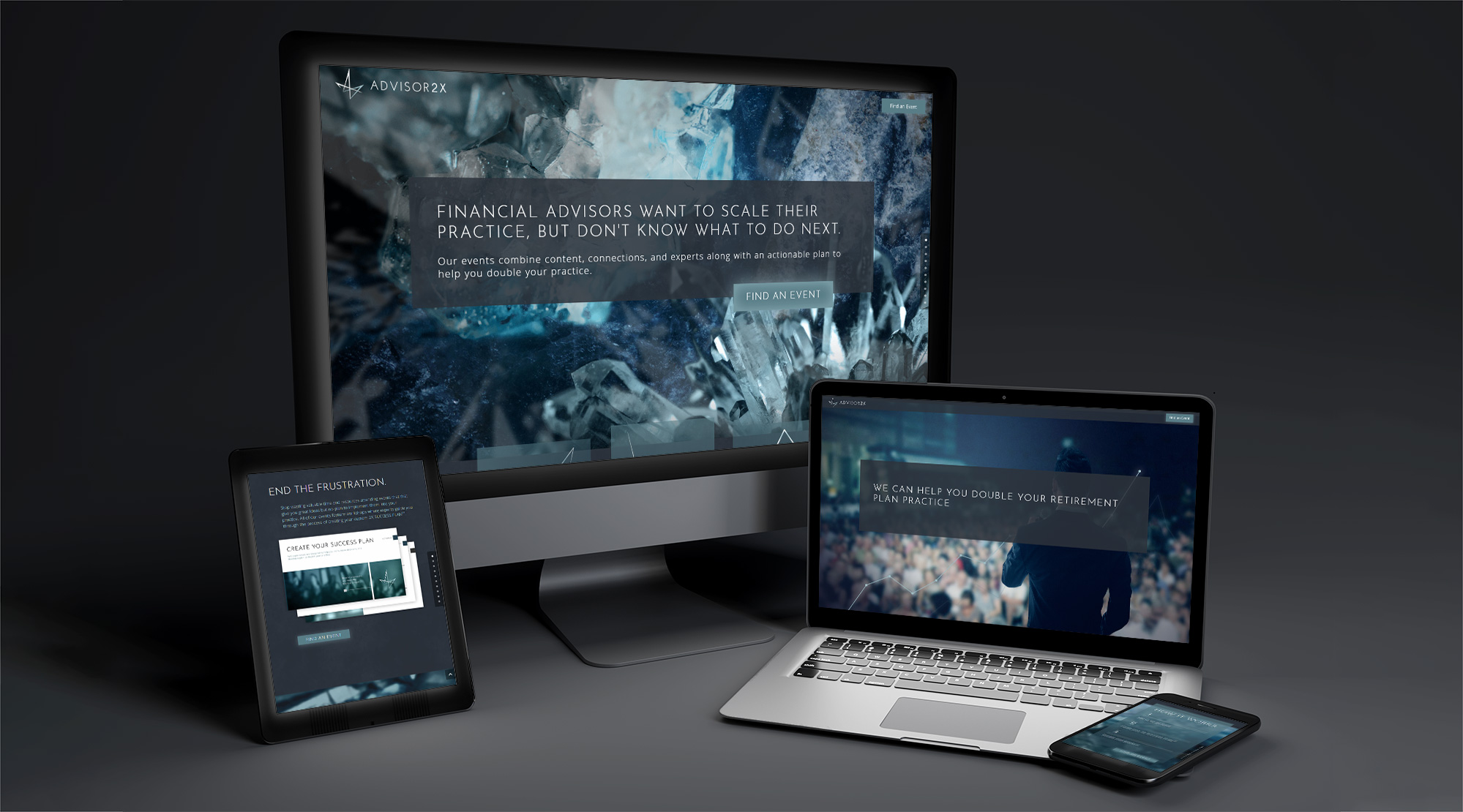 Advisor 2 X website displayed across four screens of different sizes