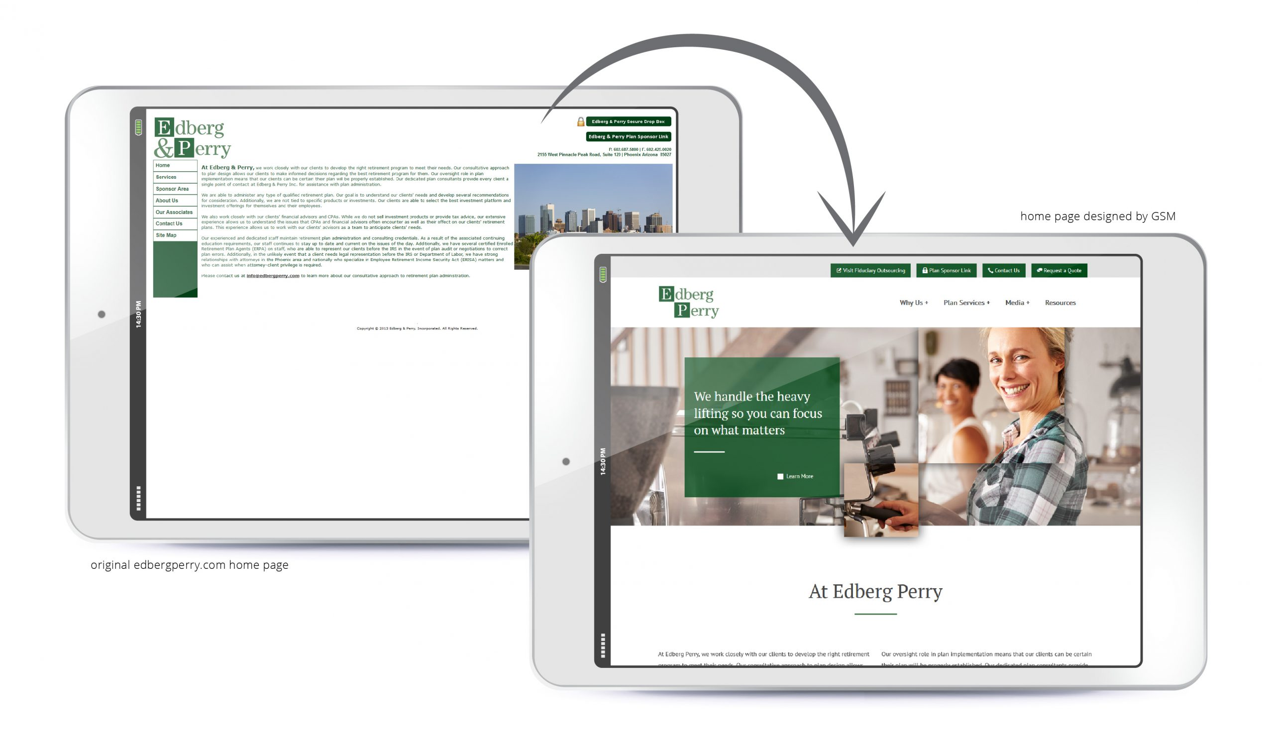 Before-and-after Edberg Perry website redesign