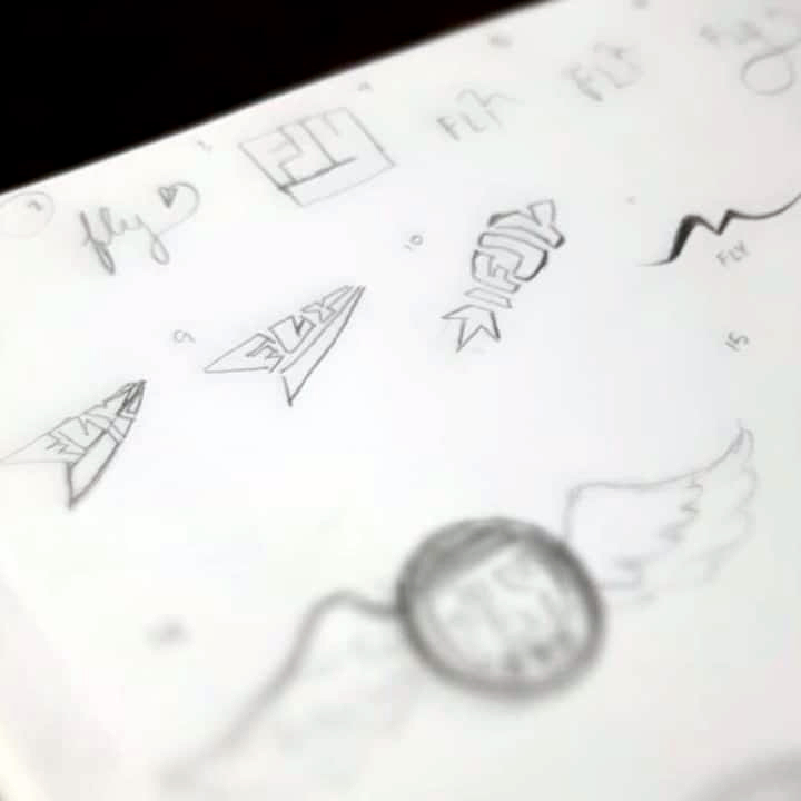 A snapshot of the sketchbook page that led us to fly!'s final logo design.