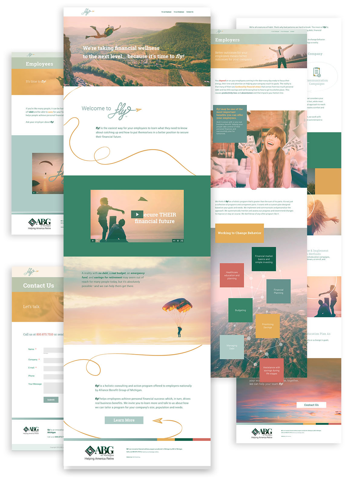 Flat composition showcasing full fly! webpage designs