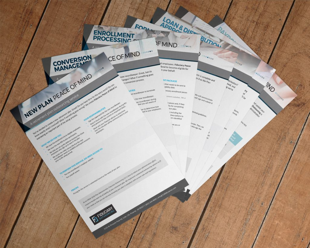 Set of 7 different handouts promoting the 7 key product offerings from Fiduciary Outsourcing