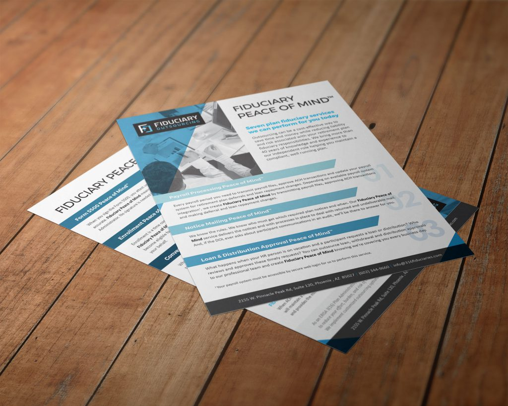 Fiduciary Outsourcing flyers laid on a table