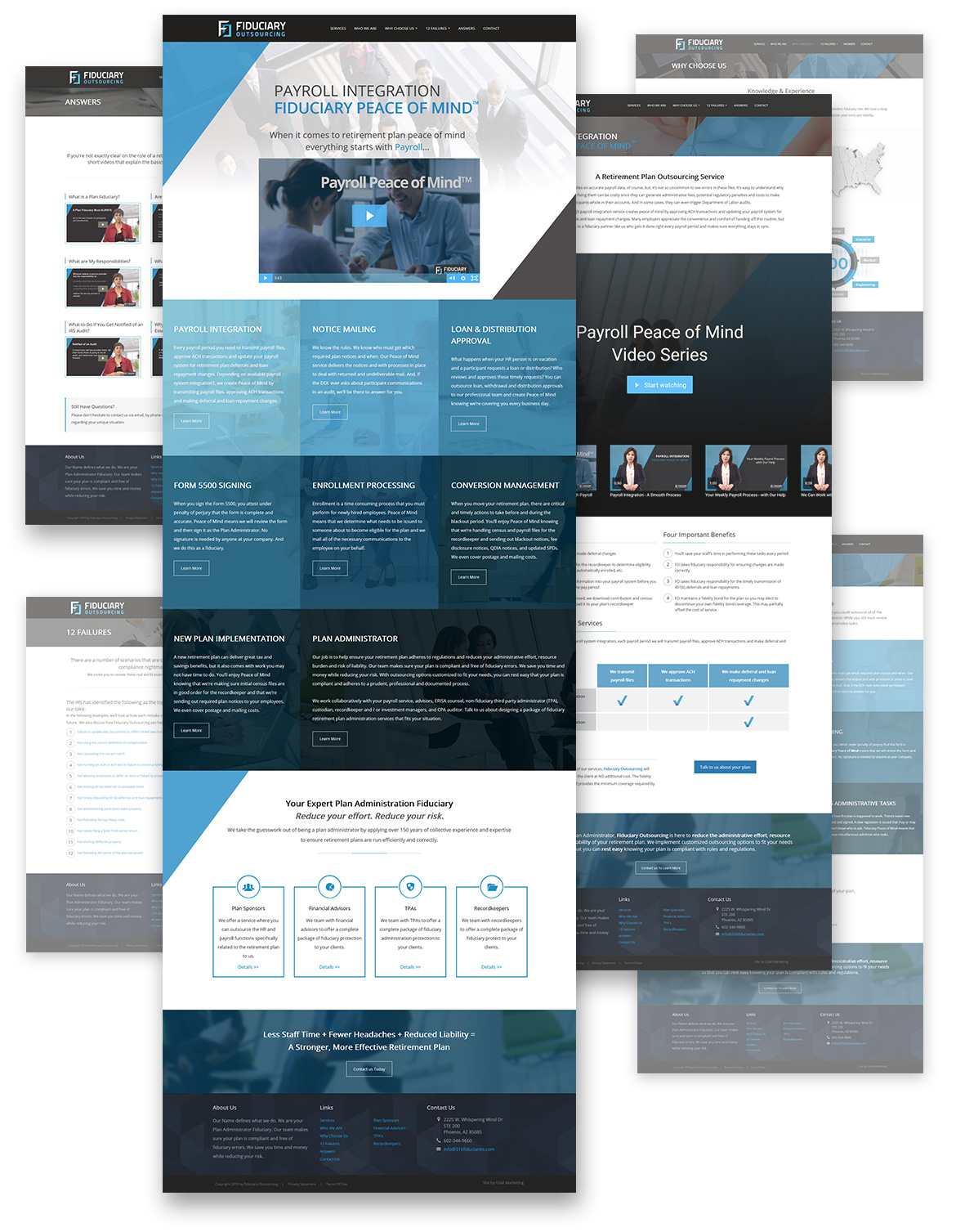 Flat composition showcasing full Fiduciary Outsourcing webpage designs