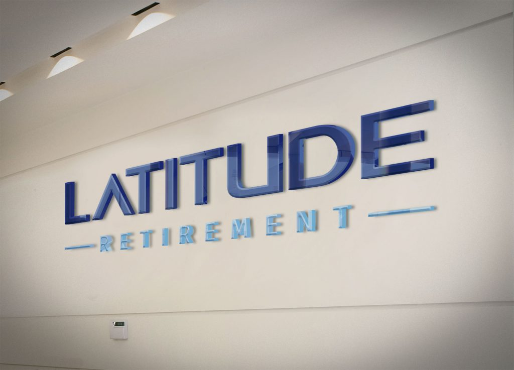 3 dimensional latitude logo sign mounted on an office wall