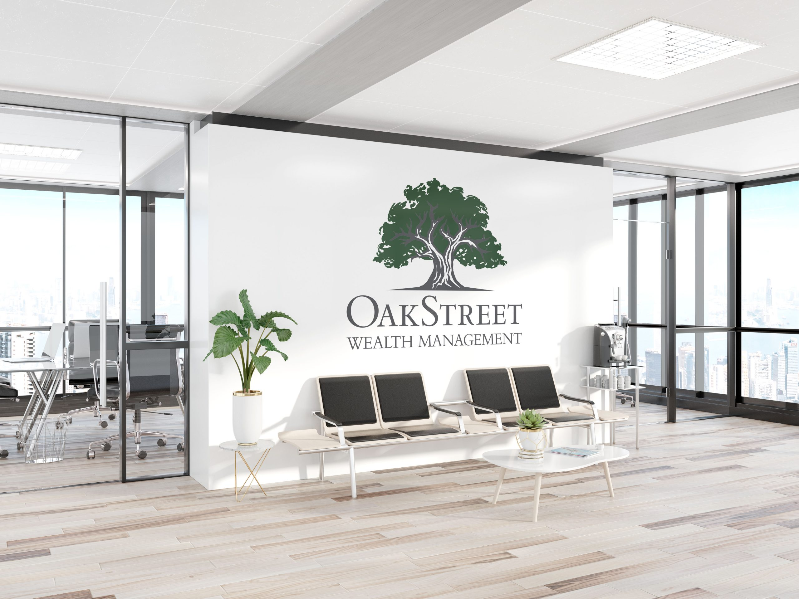 Large OakStreet logo decal displayed on a white office wall as statement art