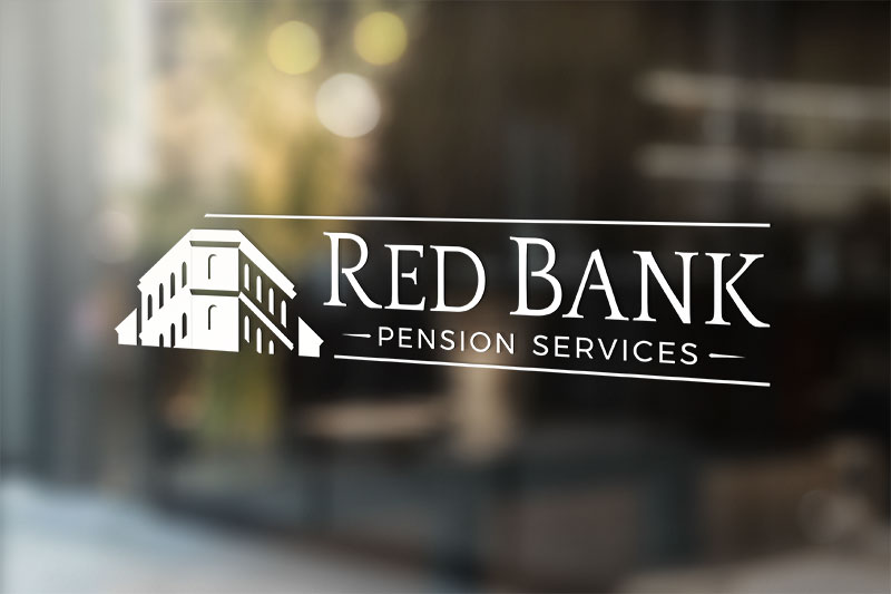 Red Bank Pension Services all-white logo decal on a window