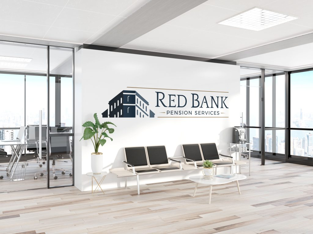 Large Red Bank Pension Services wall decal decorating an office
