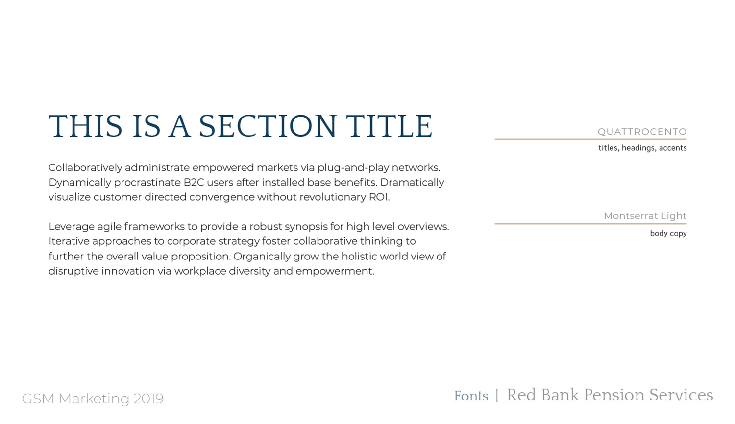 Red Bank Pension Services typography plan