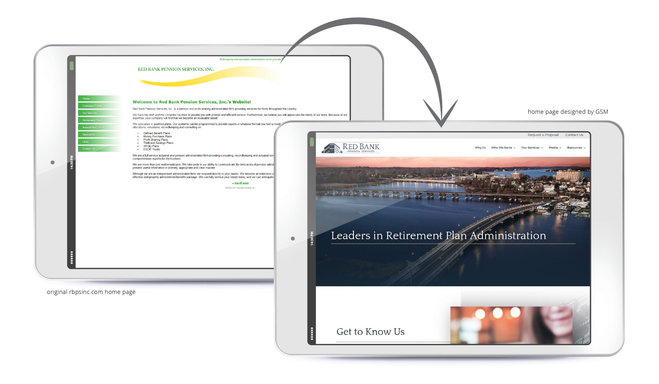 Before-and-after Red Bank Pension Services website redesign