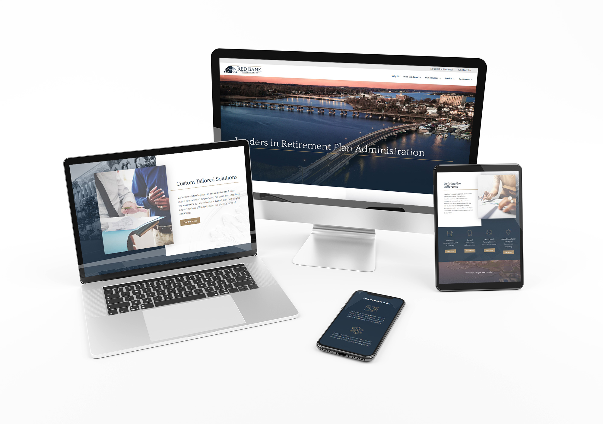 Red Bank Pension Services website displayed across 4 devices of different sizes
