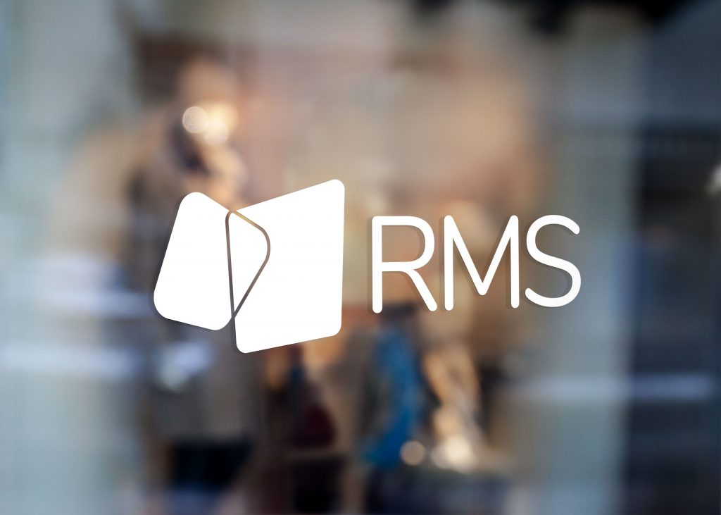RMS all-white logo decal displayed on a window