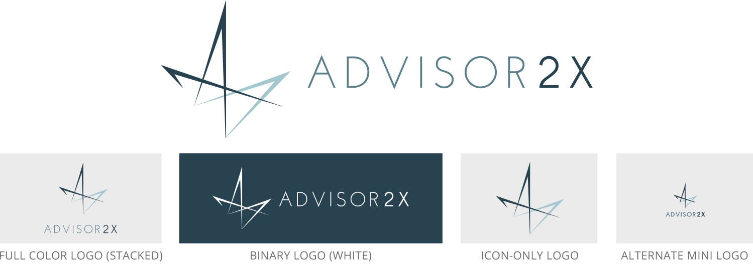 Advisor2X logo design set, including official full color, binary color, horizontal, stacked, icon, and miniature versions