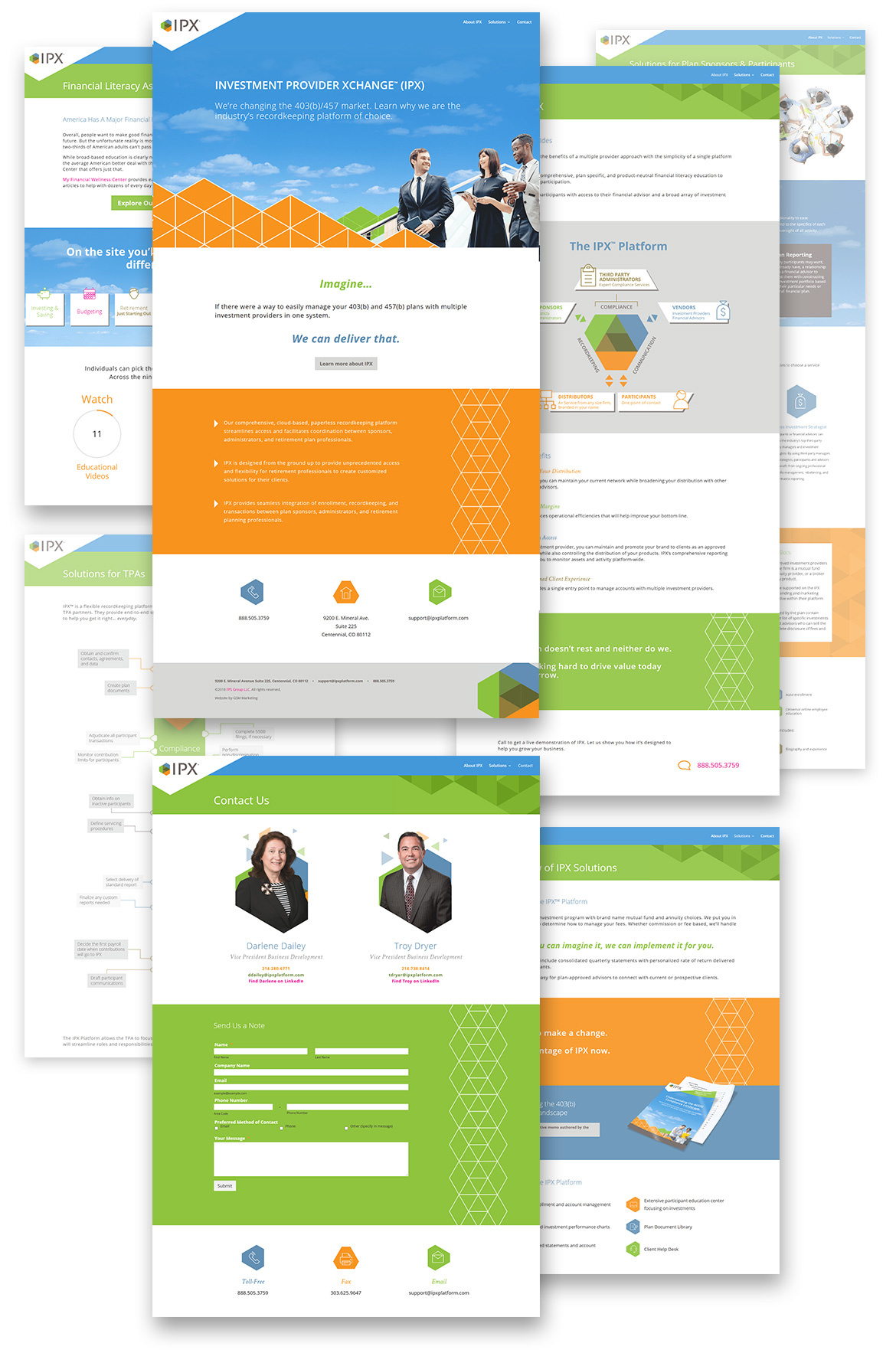 Flat composition showcasing full IPX webpage designs