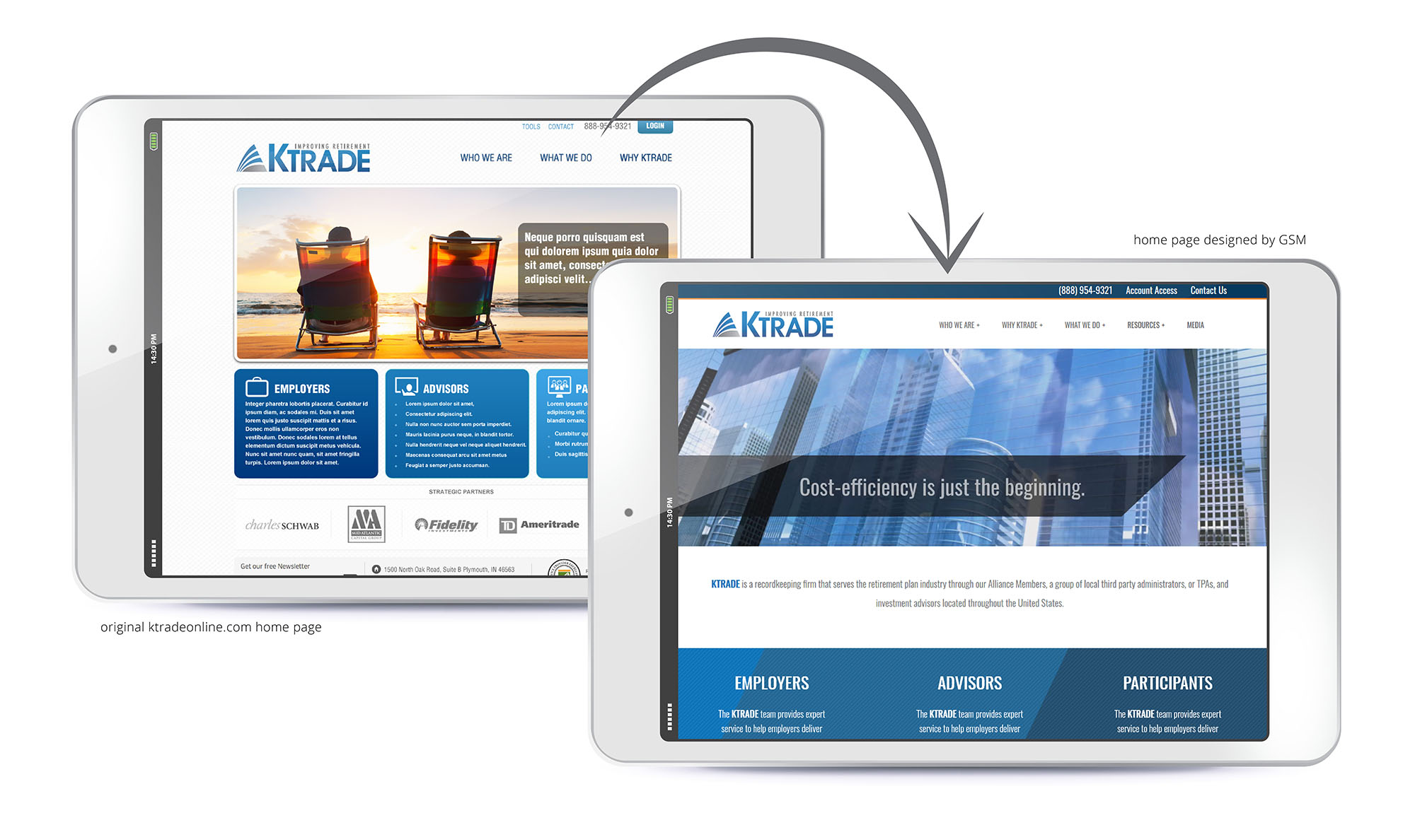 KTrade before-and-after website redesign