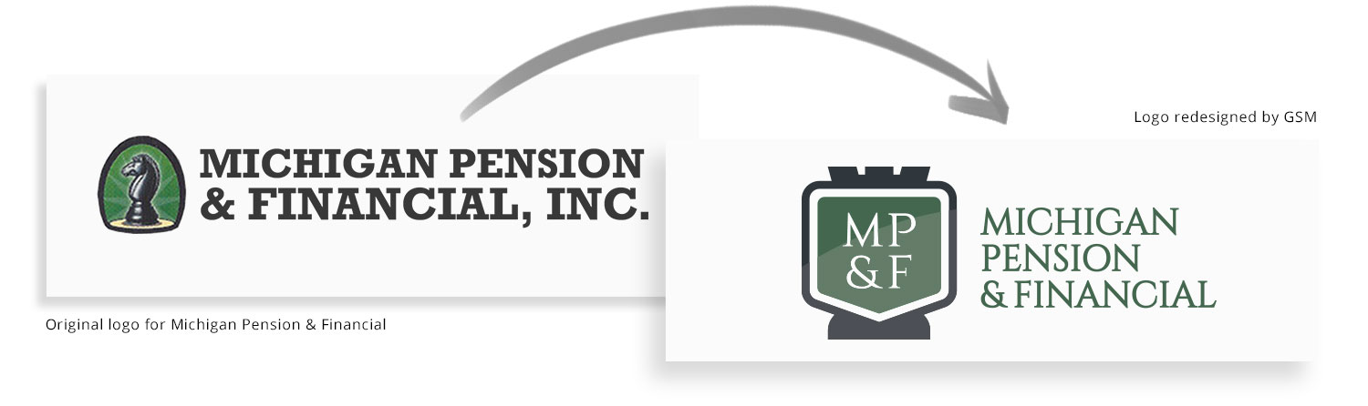 Michigan Pension before-and-after logo redesign