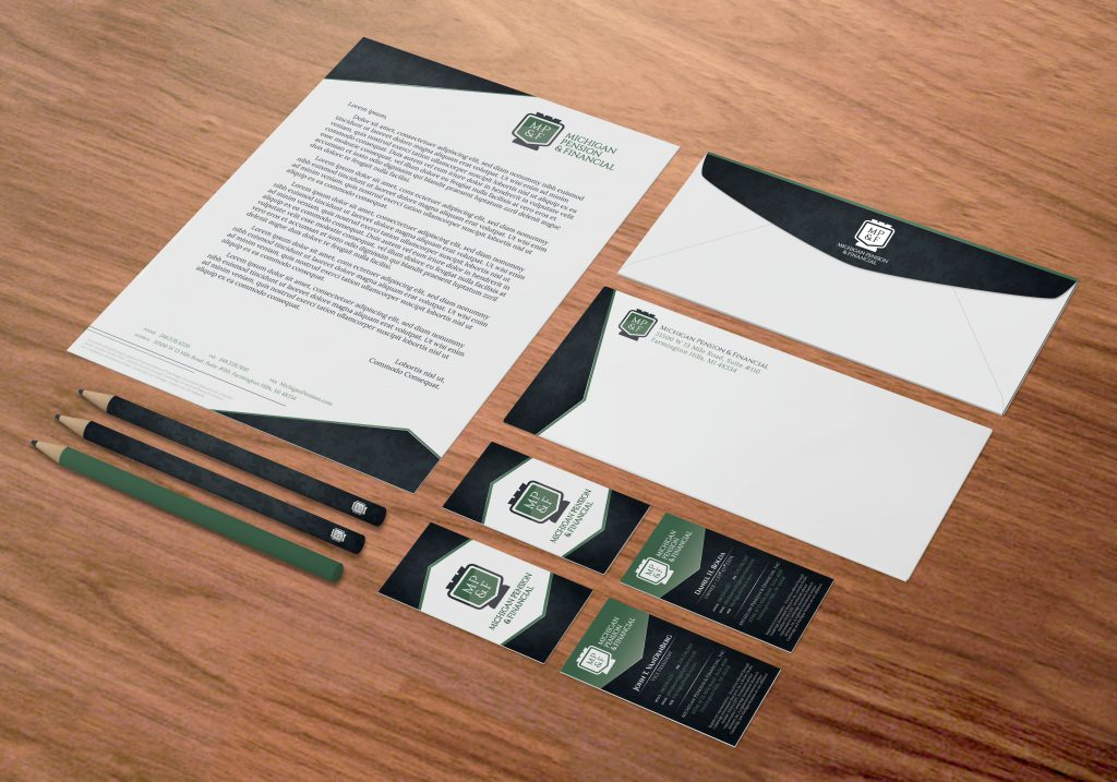 Michigan Pension custom stationery laid out in a unified set