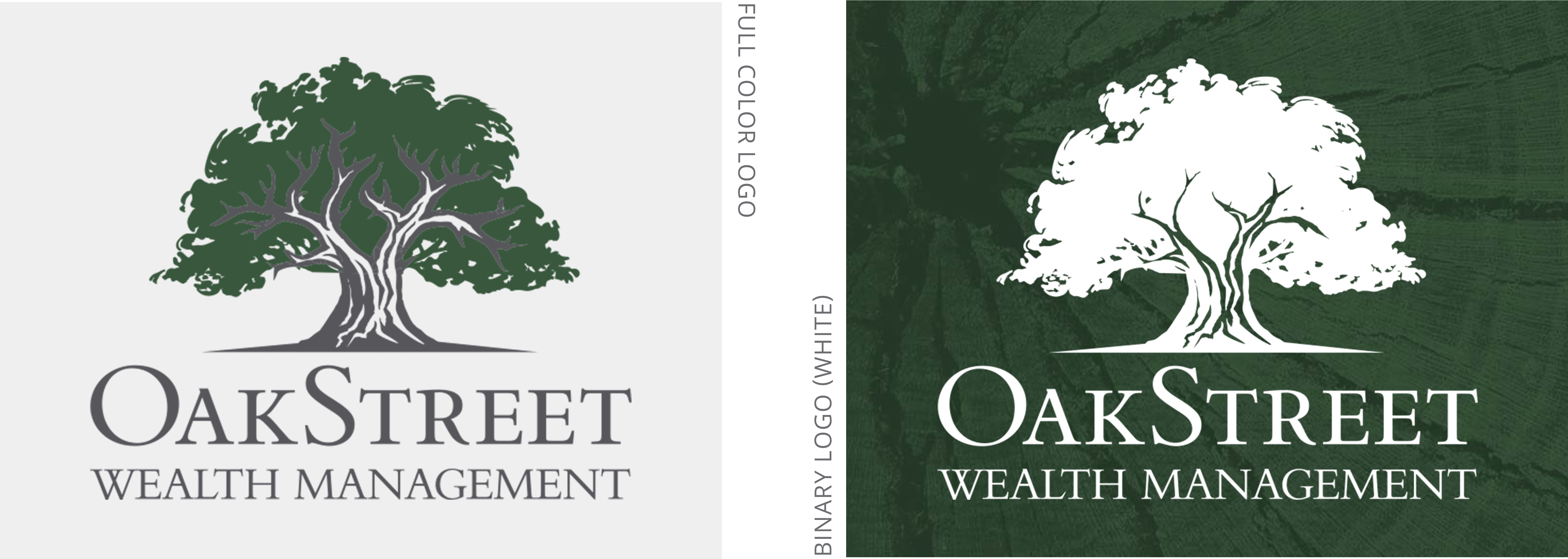Oakstreet logo set, including full color and binary color versions