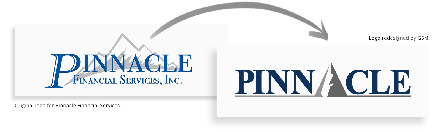 Pinnacle logo redesign before-and-after