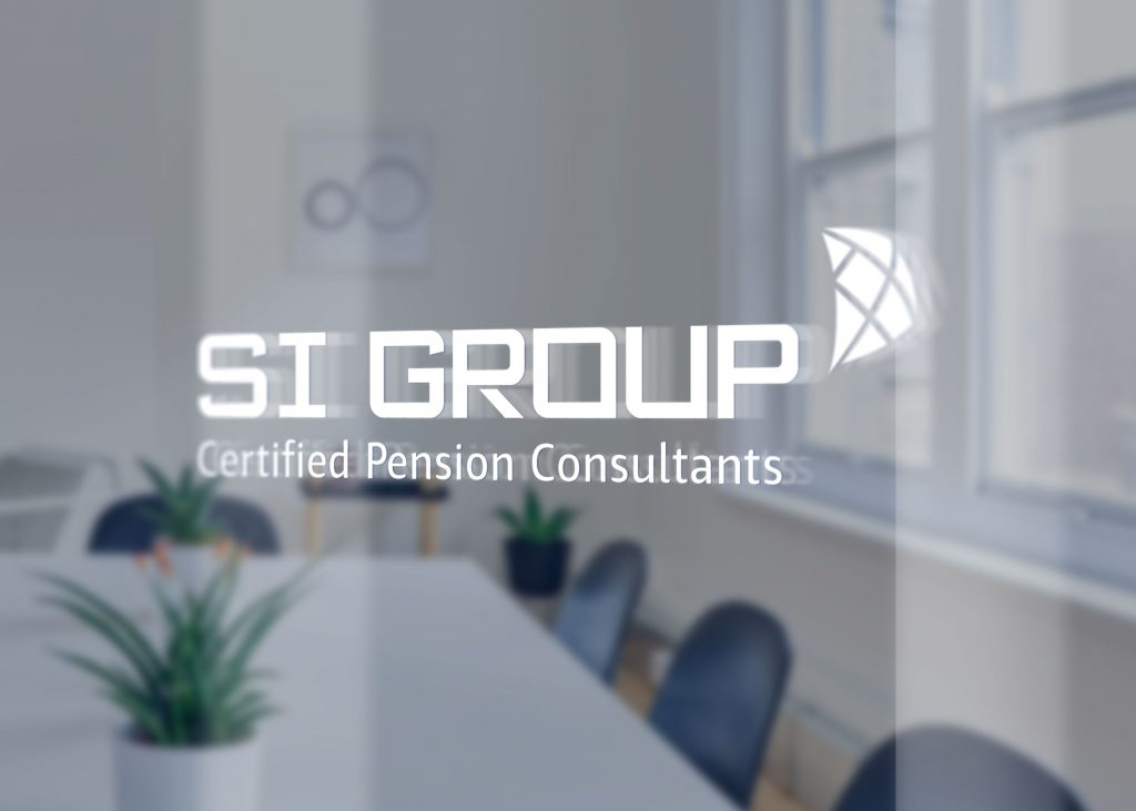 White S.I. Group logo decal on an office window