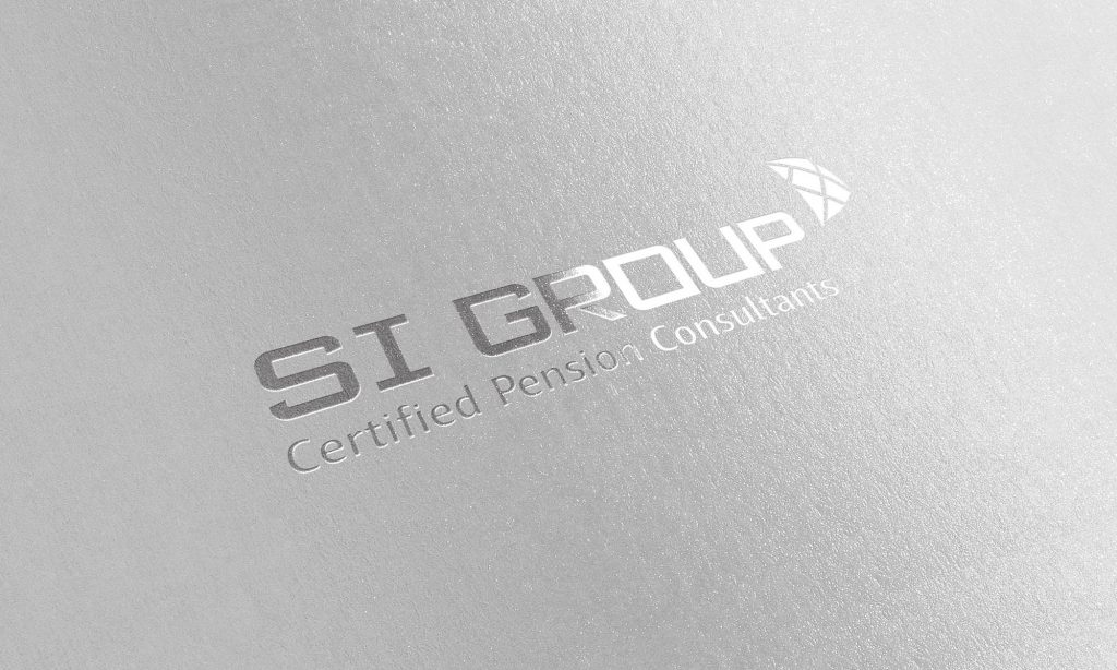 S.I. Group logo embossed in metallic silver on satin-textured paper