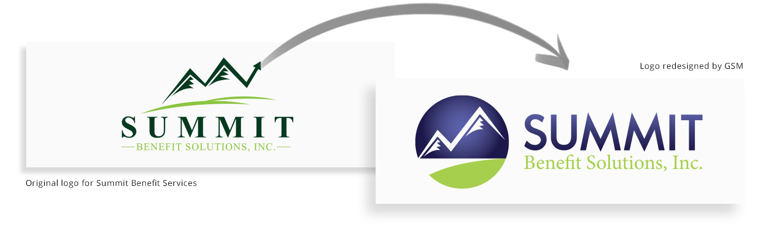 Summit before-and-after logo redesign