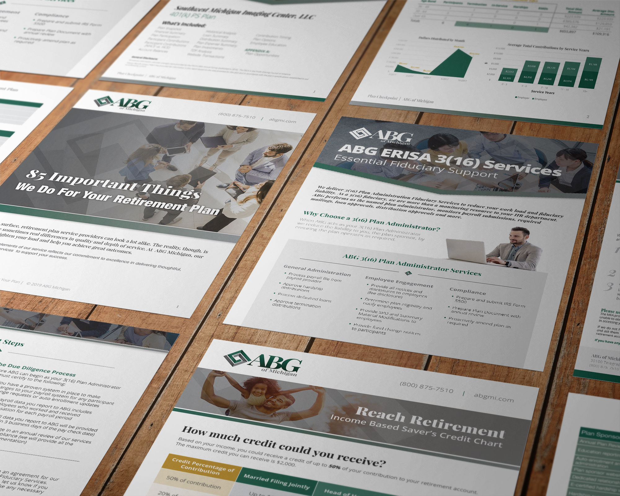 10 different print marketing pages designed for ABG of Michigan, all laid out neatly on a table