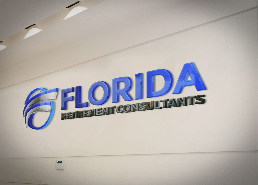Large, 3-dimensional FRC logo mounted on an office wall