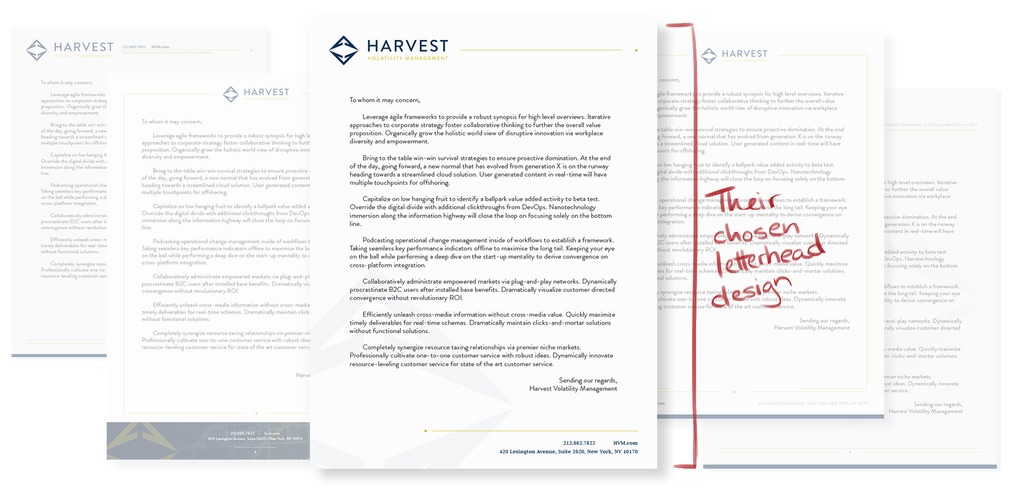 Composition showcasing several letterhead designs proposed to Harvest, handwritten details indicating the final choice