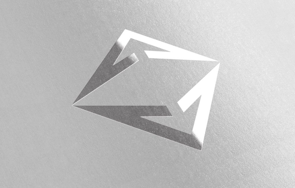 Harvest logo icon printed in glossy silver on paper
