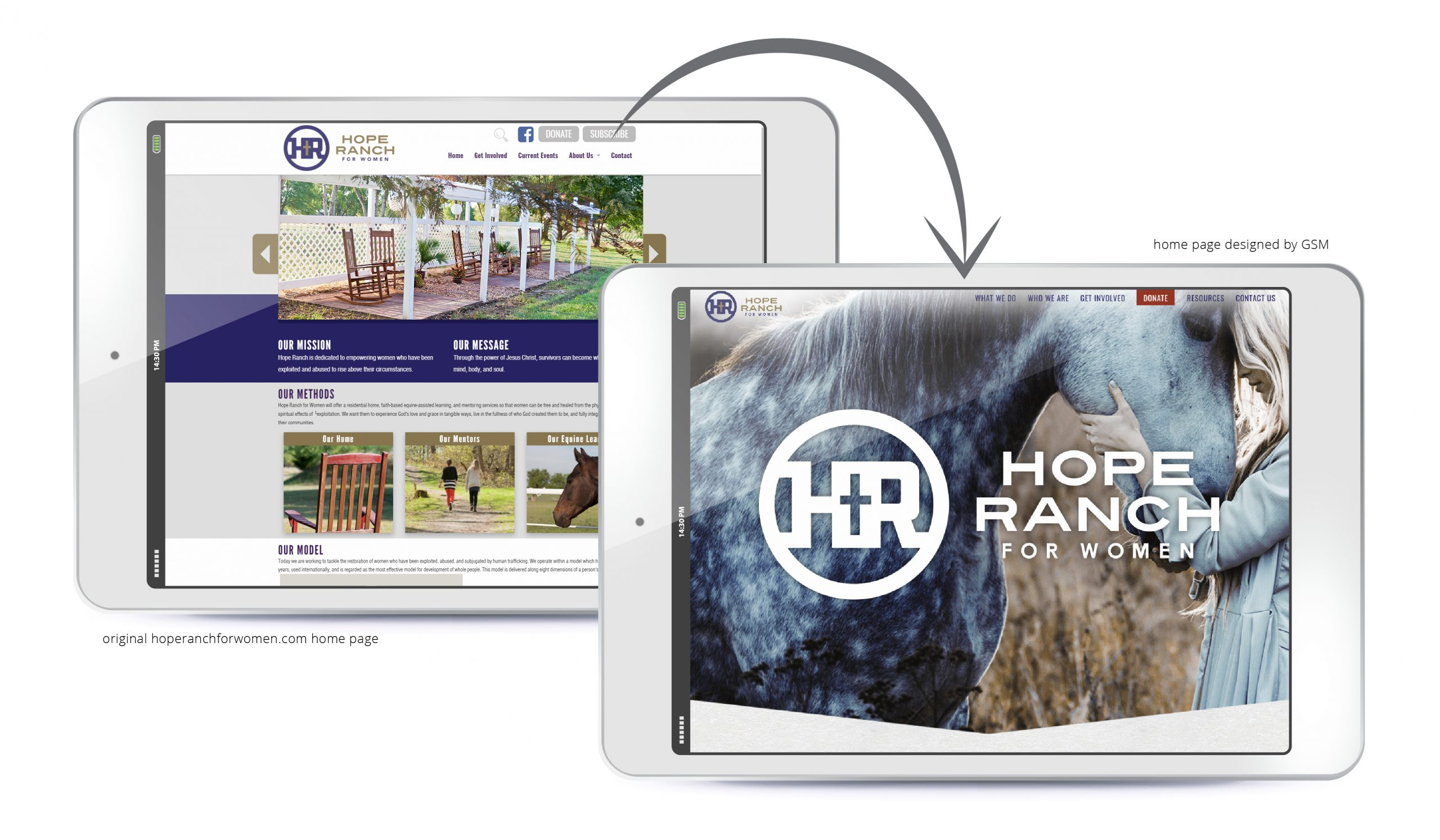 Before-and-after Hope Ranch website redesign
