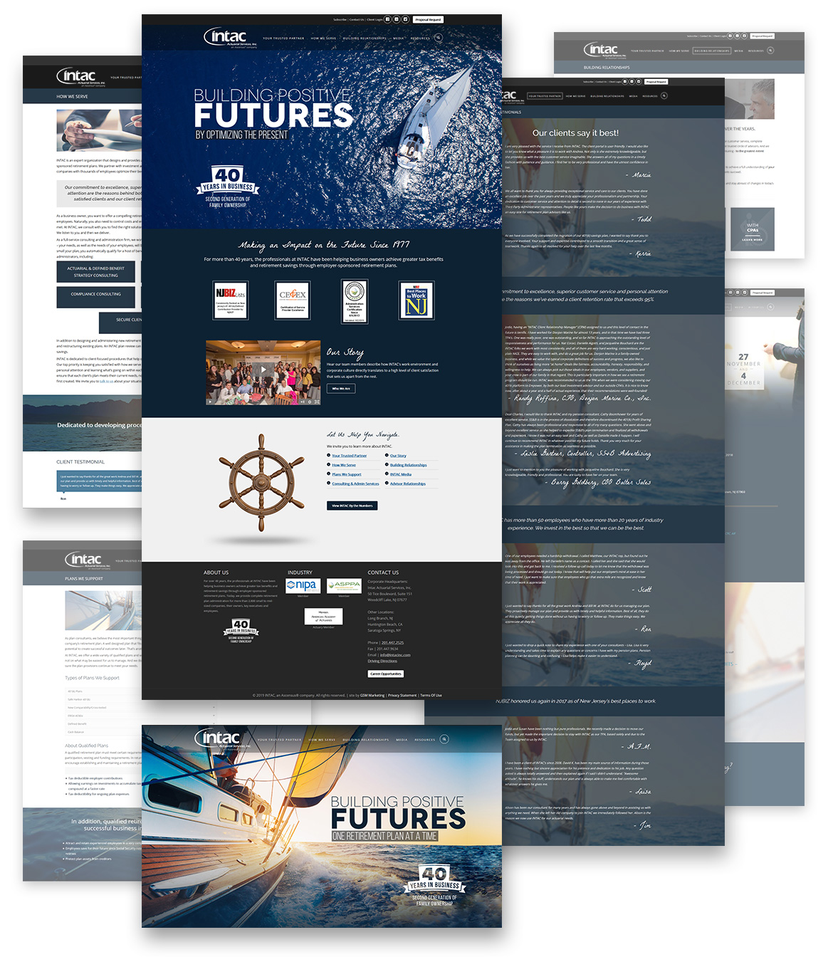 Flat composition showcasing full INTAC webpage designs