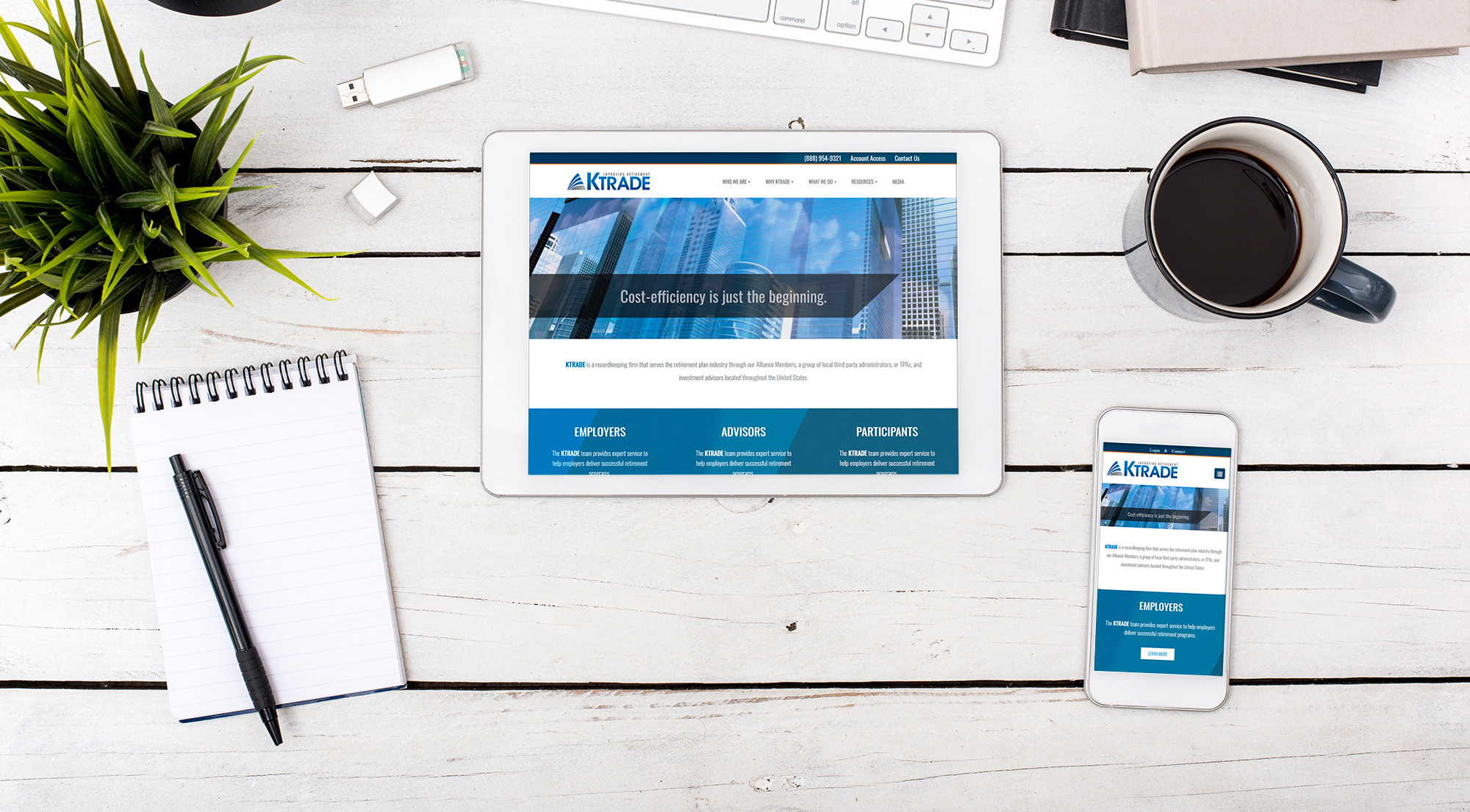 KTrade home page on a tablet and smartphone