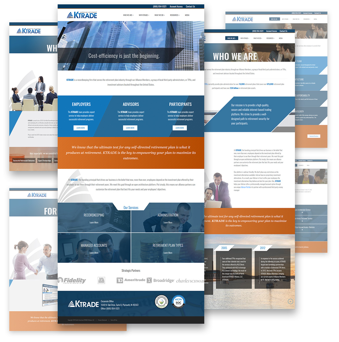 Flat composition showcasing full KTrade webpage designs