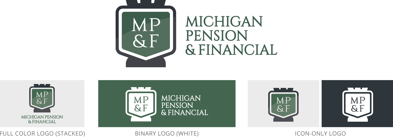 Michigan Pension official logo set, including full color, binary color, stacked, and icon versions