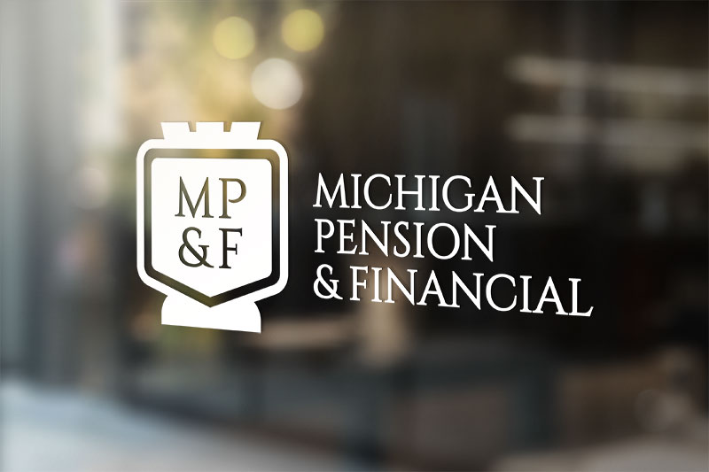 White michigan pension logo decal on an office window
