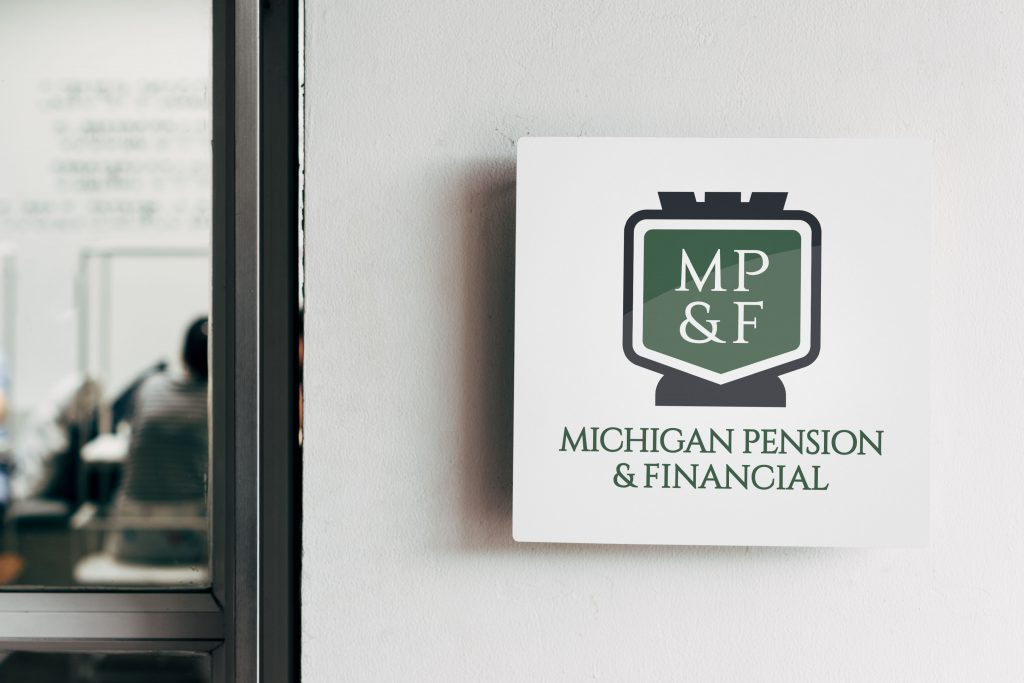 Stacked Michigan Pension logo on a square wall sign mounted next to an office door