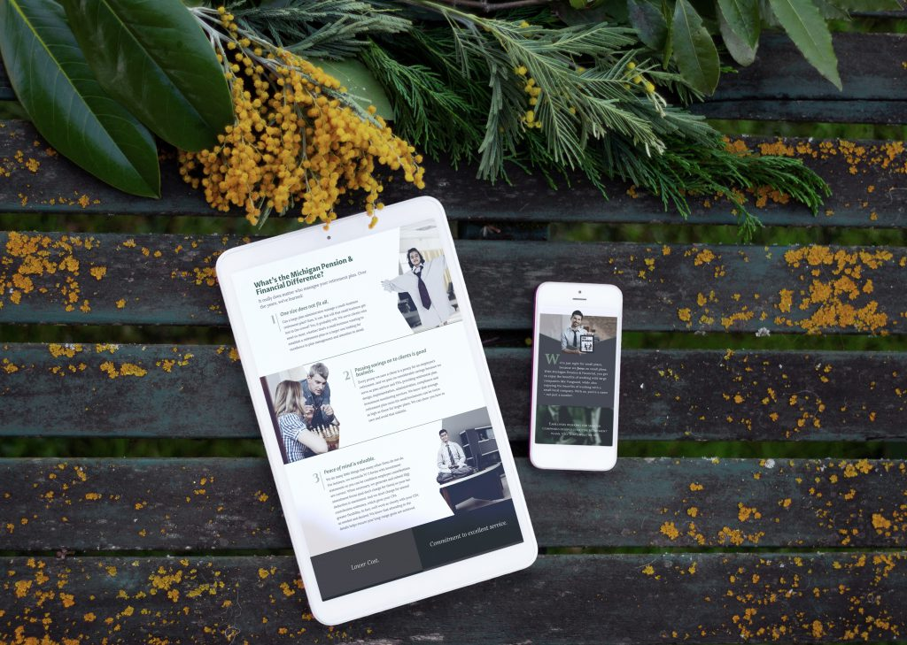 Michigan Pension web design displayed on a smartphone and tablet device
