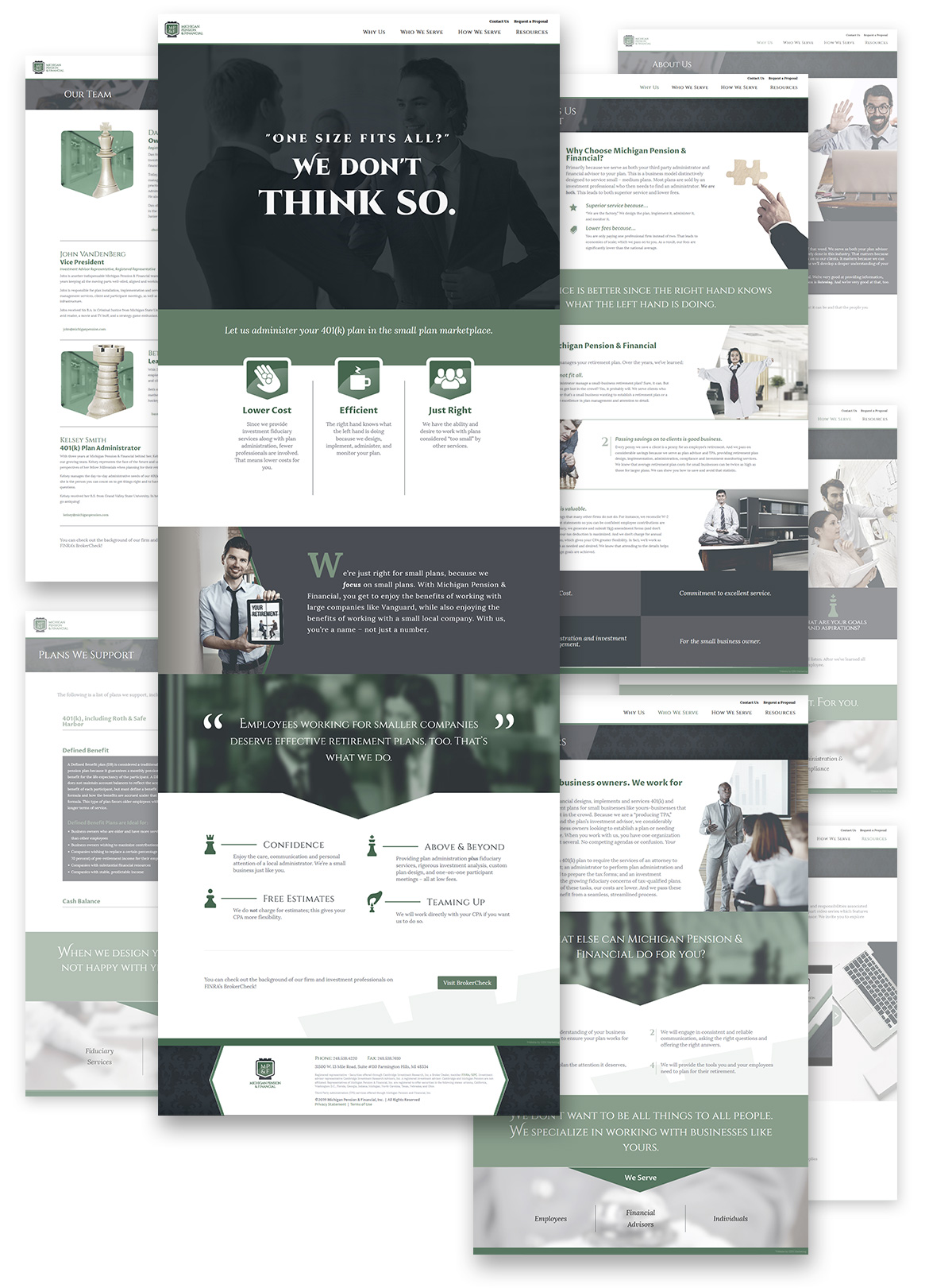 Flat composition showcasing full Michigan Pension webpage designs