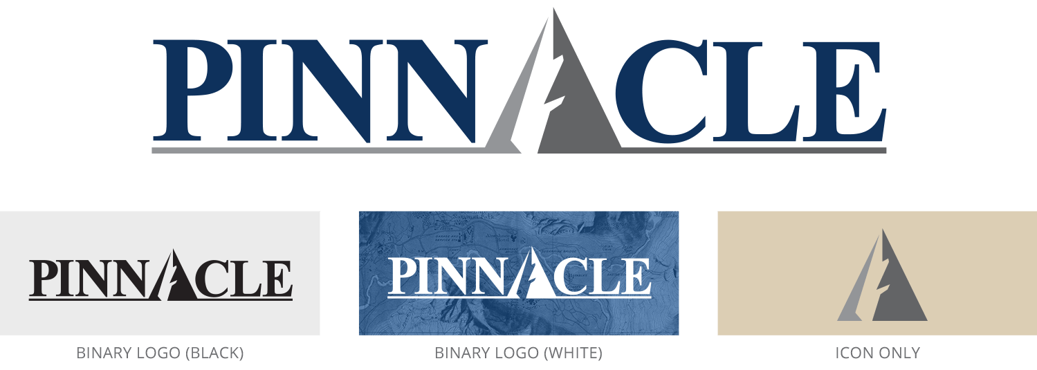 Pinnacle logo set, including full color, binary color, and icon versions