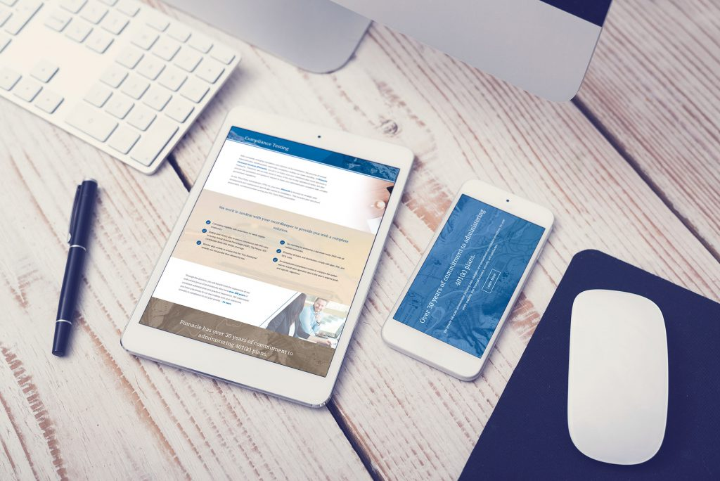 Pinnacle website on a tablet and smartphone