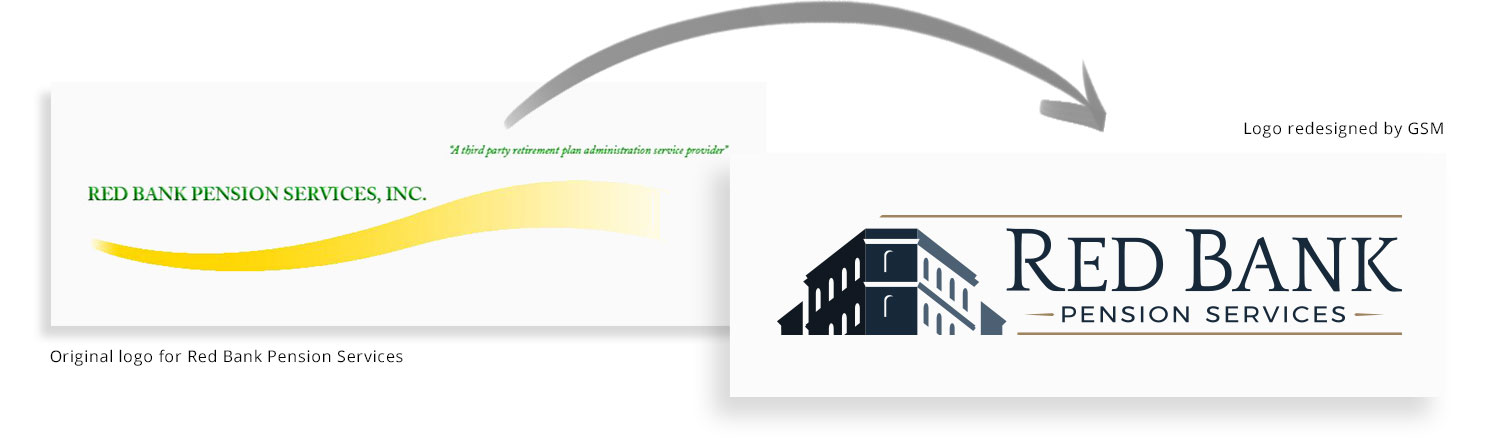 Red Bank Pension Services before-and-after logo redesign