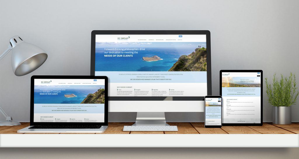 S.I. Group home page designs across four devices of varying screen sizes