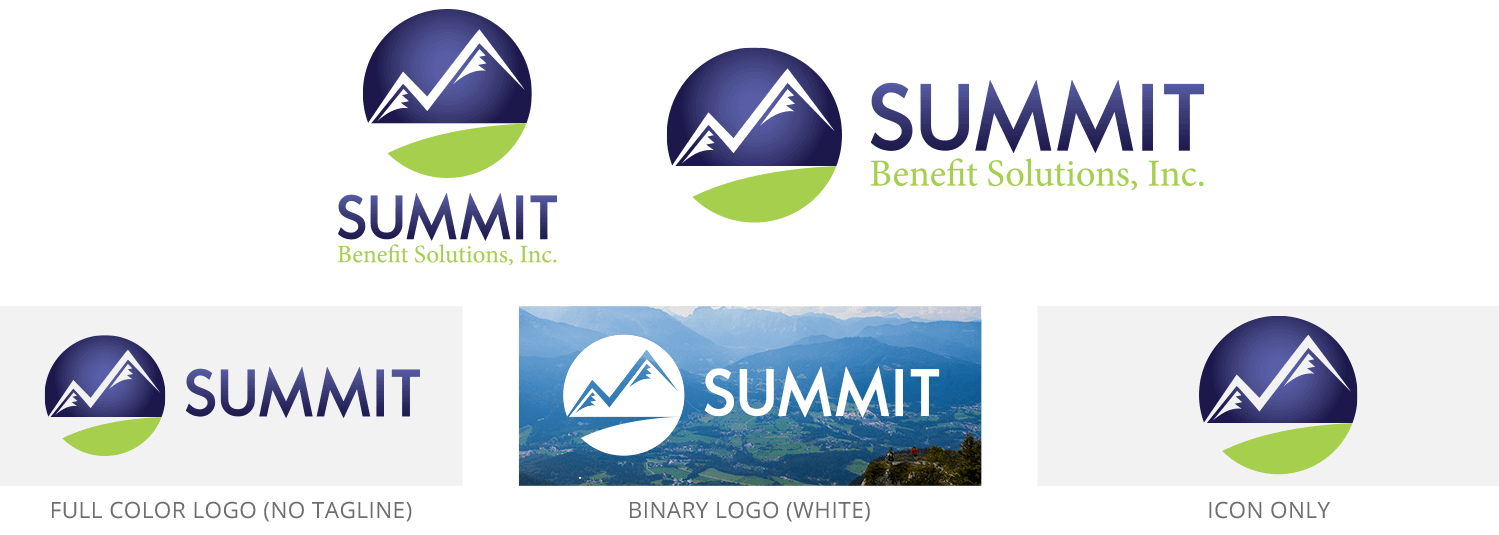 Summit logo set, including official full color, binary color, horizontal, stacked, tagline, and icon versions.
