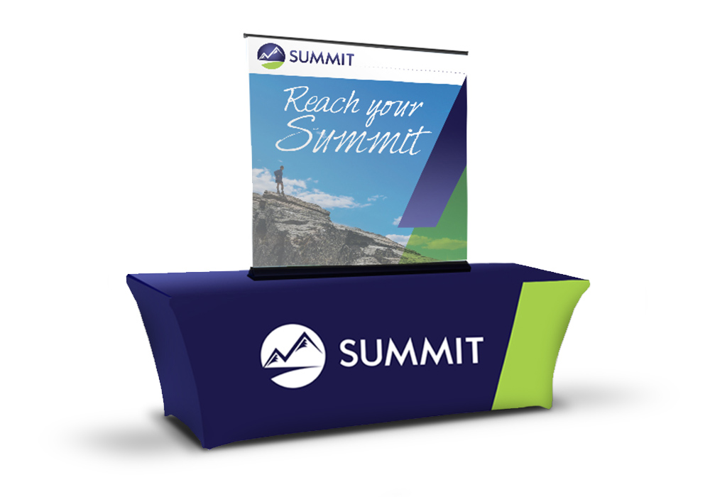 Summit event booth assets: an elastic table cover and a large table-top banner stand