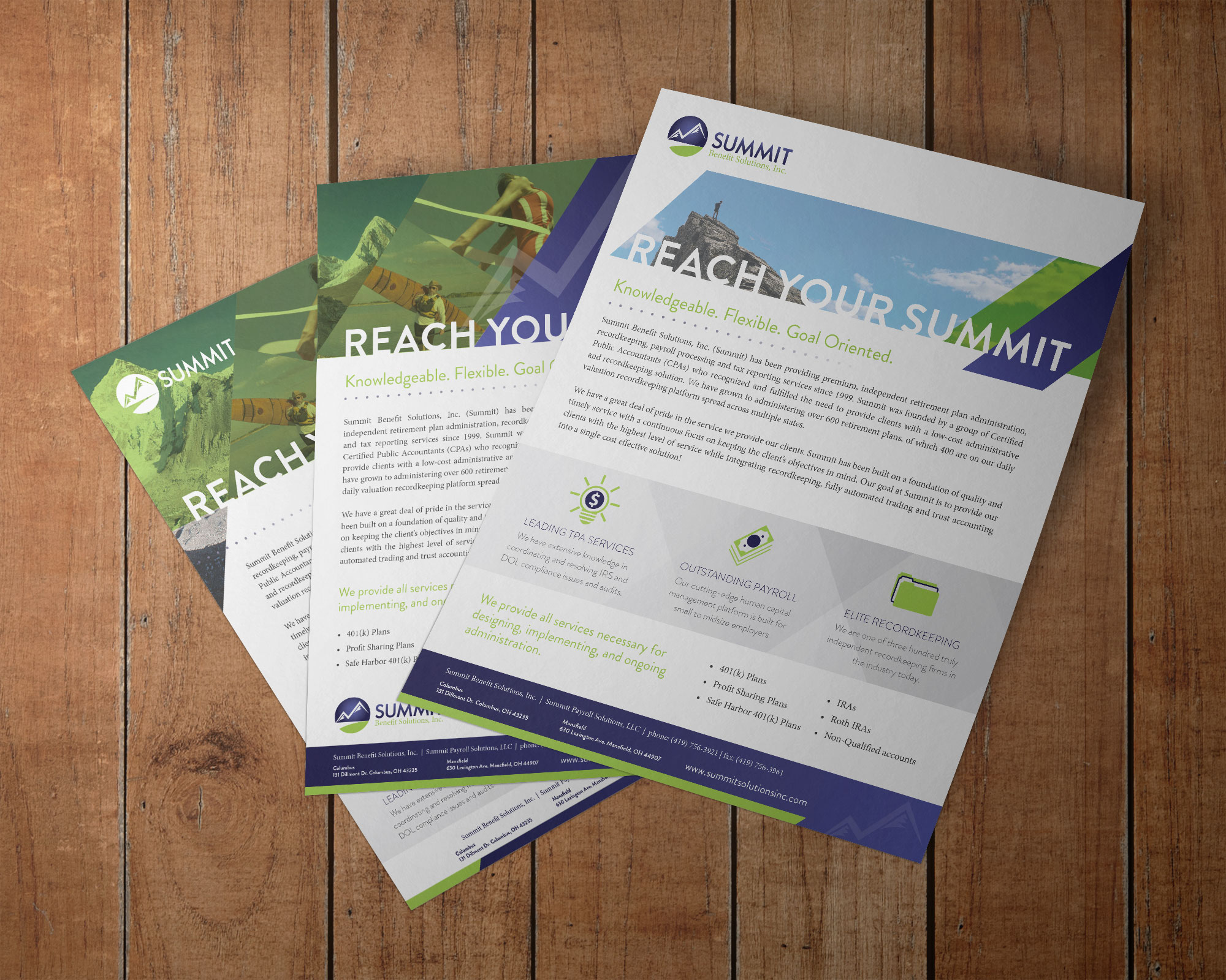 Summit overview handouts laid out on a table