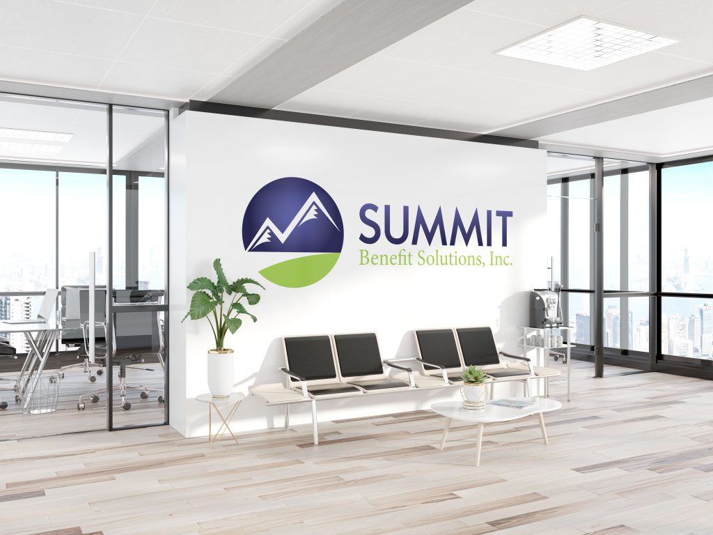 Summit logo decal decorating a large office wall